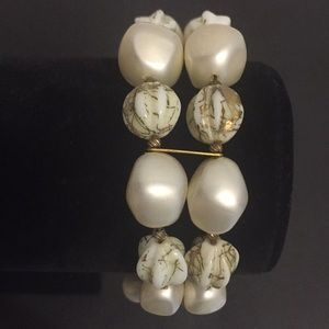 Vintage Natural Crystals and Faux Pearls Bracelet
